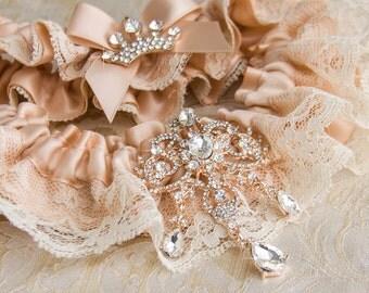 Rose Gold Bridal Garter Set, Ivory Lace Wedding Garter Set, Rose Gold Bridal Garter, Wedding Garter, Rose Gold Garter, Rhinestone  Garter