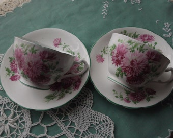 Two Vintage China Tea Cups & Saucers, 2 Tea Duos, Aster Pattern