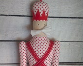 Toy Soldier soft fabric toy, red, white, christmas, xmas, eco-friendly doll for baby or home decoration