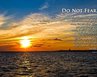 Christian art,  Isaiah 43, scripture, sunset, no fear, waterscape, bible, encouragement, faith,silhouette, orange, blue, scriptures