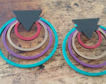 Full Circle Post Hand Painted Earrings