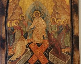 Jesus Christ - Resurrection - Orthodox Byzantine icon on wood handmade (22.5cm x 17cm)