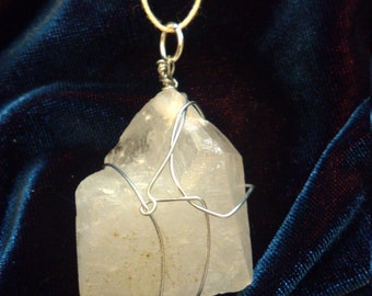Quartz crystal gemstone necklace