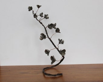Coin flower branch in silver, flowers in keys and coin