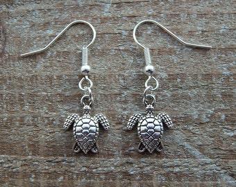 Turtle Earrings, Silver Turtle Dangle Earrings,  Drop Earrings, Sea Turtle Charms, Turtle Jewellery,  Pierced Ears, Silver Earrings