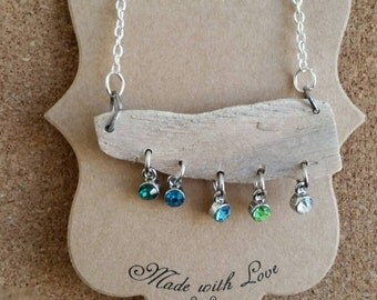 Driftwood Crystal Droplet Necklace-Blue/Green