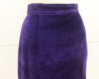 Vintage Royal Purple Suede Skirt