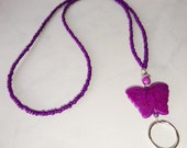 Purple Butterfly ID Lanyard Badge Holder Handmade Laniard