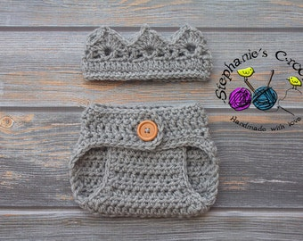 Crochet Newborn boy crown, diaper cover, crochet crown, crochet diaper cover, photo prop-Made to order