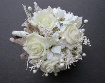 Winter Wedding Bouquet / Poinsettia Bouquet / Holiday Bouquet