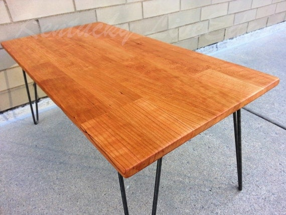 Wood Coffee Table- Cherry Slab Table- Rectangular Coffee Table ...