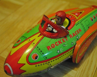 Vintage Tin Rocket Racer- Friction Powered By Wheels-BySchylling-No Box