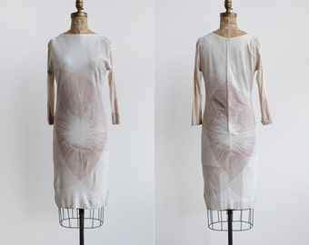 Misun Dress / 1970s starburst dress / vintage atomic printed shift dress