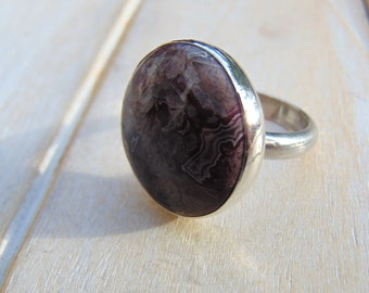 Crazy Lace Agate Ring - Sterling Silver Ring - Statement Ring - Agate Jewellery - US Size 8 1/4 - UK Size Q