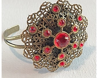 Reclaimed Vintage Brooch Cuff Bracelet, Handmade Repurposed Cuff Bracelet in Antiqued Gold Tone or Brass with Bright Red Glass stones