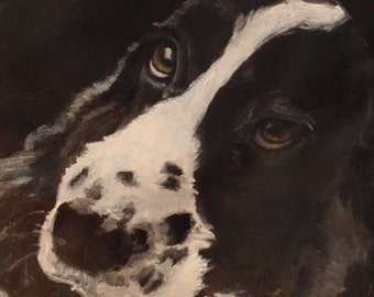 Lunch Bag - Hand Painted 'Karma' a B&W Springer Spaniel on Black Nylon Insulated Lunch Bag