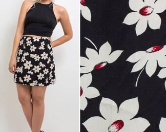 90s MINI skirt GRUNGE skirt mini skirt LARGE skirt vintage 1990s clothes 90s outfit nineties skirt nineties style floral high waist skirt