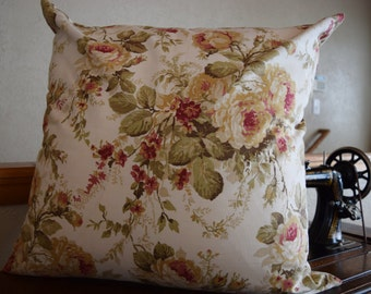 """Single Pillow Cover 22""""x22"""" Sage Green, Taupe, Cranberry, Creams"""