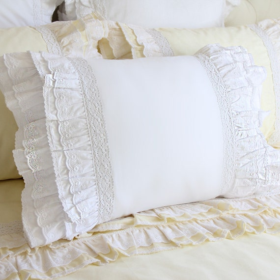White Ruffle Pillow Eyelet Lace Pillow Sham Pillow by LovelyDecor