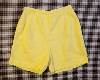1960's, high waist, zip back, shorts, in pale yellow, by Jantzen, Women's size Medium/Large