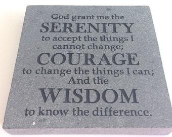 Serenity Prayer Stone, Engraved Rock