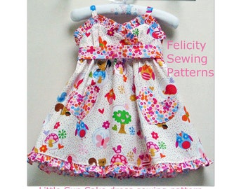 Girls pdf dress sewing pattern sizes 1 to 10 years LITTLE CUP CAKE dress downloadable sewing pattern by FelicityPatterns