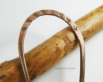 "Primitive Copper Hair Fork with Hand Stamped Stars, Rustic Hair Pins, 5"" Hair Fork, Hammered Hair Stick, Oxidized Copper Fork"