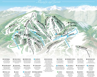 Customized Ski Map Table Assigmnent Board - Digital File / Vail Mountain, Beaver Creek Mountain, or Aspen Mountain