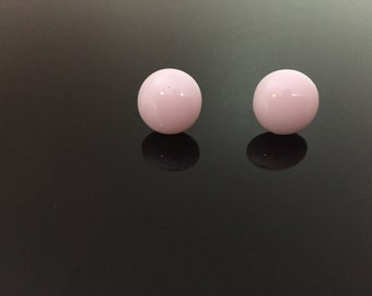 Opaque Pink Fused Glass Earrings Studs #54