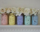 Shabby Chic Easter Mason Jars-Rustic Wedding Decor-Painted Mason Jars--Home Decor--Wedding Decor--Wedding Centerpieces--Rustic Easter Decor