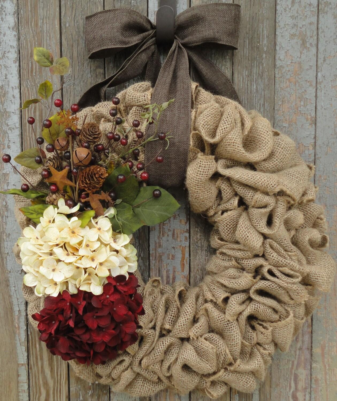 Christmas Hydrangea Wreath, Christmas Burlap Wreath, Christmas ...