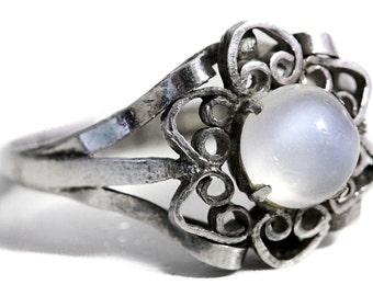 Ring Moonstone Silver Artisan Jewelry