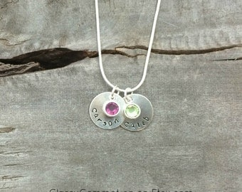 Mommy Necklace - Circles with Birthstone Option- Hand Stamped Jewelry - Mothers Day Necklace Grandma Necklace Nana Gigi Grandmother