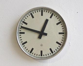 Mid Century  Industrial Factory Wall Clock /  Station  Clock /  50's /  Iskra Yugoslavia