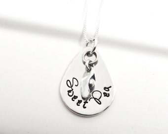 Sweet Pea Daughter Hand Stamped Necklace