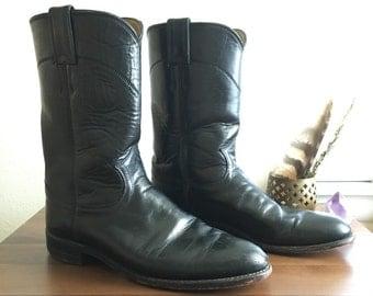 Vintage Black Justin Roper Cowboy Boots