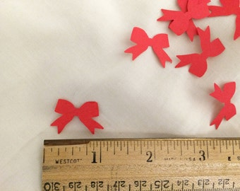 """Red mini bows, embellishments, 75 Holiday bows  approx 1"""" scrapbooking crafts cards tags handmade, Martha Stewart, punch die cast paper bows"""