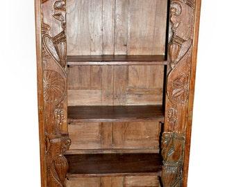 Antique Hand Carved Book Case Bookshelf Chakra Borders Wood