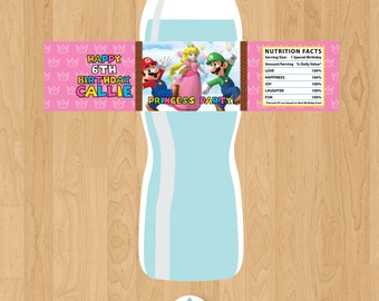 Super Mario Princess Peach Birthday (Pink) Personalized Water Bottle Labels - Digital File