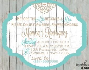 Rustic Shower Invitation, Printable, Wedding Shower, Birthday, Baby Shower, Invite, DIY