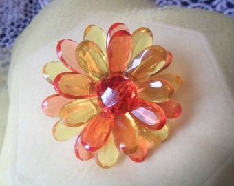 vintage Pin Brooch with Yellow & Orange Acrylic petals    ** Jewelry