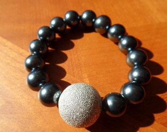 ON SALE Charcoal Pearl and Silver Beaded Bracelet - FREE Shipping