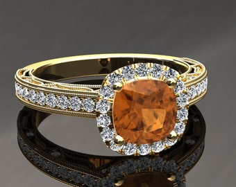 Citrine Halo Engagement Ring Cushion Cut Citrine Ring 14k or 18k Yellow Gold Matching Wedding Band Available SW11CITRY