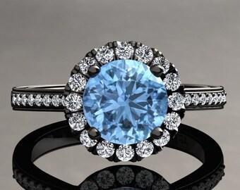Aquamarine Halo Engagement Ring Aquamarine Ring 14k or 18k Black Gold Matching Wedding Band Available W20AQUABK