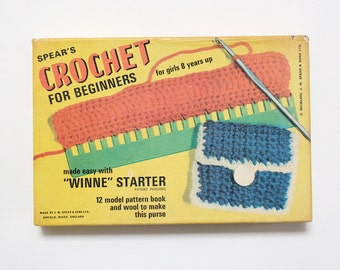 Vintage Spear's Crochet for Beginners craft kit in original box, 1972 (incomplete)