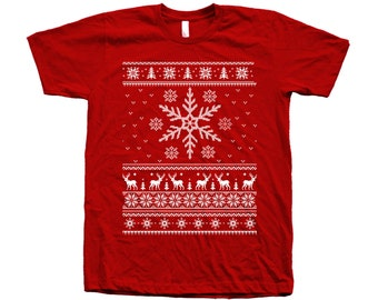 Christmas Ugly Sweater Snowflake Custom Hand Screen Printed on American Apparel Crew Neck