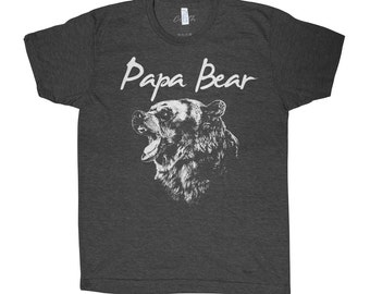 Papa Bear T-shirt Men Graphic Tee Custom Hand Screen Print Tri-Blend Short Sleeve