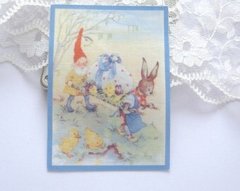 Dollhouse Tea Towel vintage easter design one inch scale