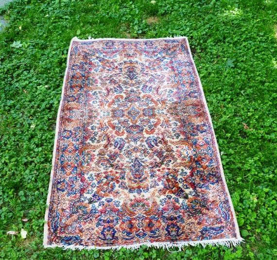 Vintage Karastan All Wool Kirman Oriental Rug