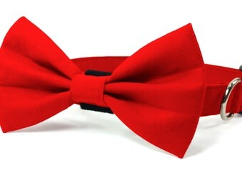 Red dog collar and bow tie, cat collar and bow tie, adjustable with removable bell (optional)